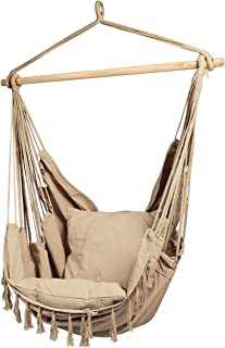E EVERKING Hammock Chair, Hanging Rope Swing Seat for Indoor Outdoor, Soft Durable Cotton Canvas, 2 Cushions Included, Lar...