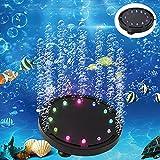 5 inch 12LEDs Aquarium Air Bubble Light, LEDGLE Multi-Colored Submersible Fish Tank Air Stone Disk Lamp Underwater Bubbler Light for Fish Tanks and Fish Ponds