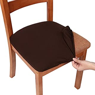 smiry Stretch Spandex Jacquard Dining Room Chair Seat Covers, Removable Washable Anti-Dust Dinning Upholstered Chair Seat Cushion Slipcovers - Set of 2, Chocolate