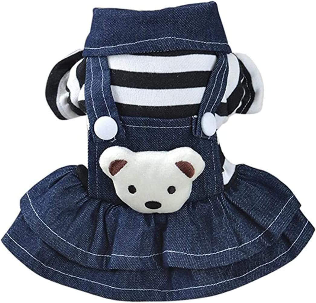 XiangYue SISAVE Puppy Cool Shipping included Jeans unisex Classic Dog Girl Ruffles Dress