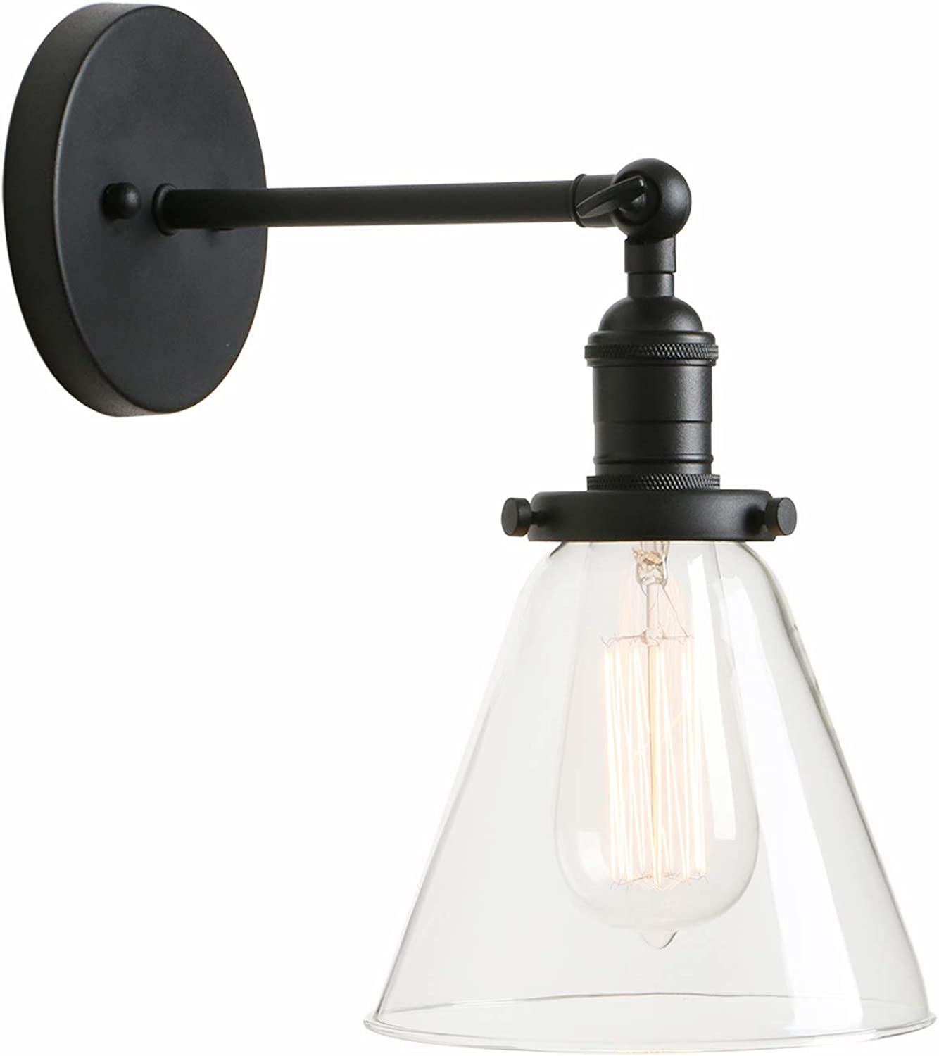 Permo Industrial Wall Sconce Lighting with On Off Switch Funnel Flared Clear Glass Hand Blown Shade (Black)