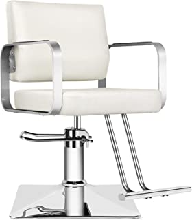 Artist hand Barber Chairs,All Purpose White Classic Salon Chairs with Dust Cover, Heavy Duty Hydraulic Pump, 360° Rolling ...
