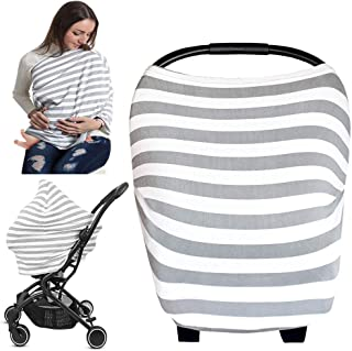 Infant Baby Car Seat Covers, Nursing Cover for Breastfeeding Ups, Soft Cotton Breathable Stretchy Carseat Canopy Shopping Cart Covers for Babies, Boys, Girls Shower Gifts (Grey Stripe)