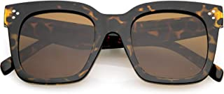 Retro Oversized Square Sunglasses for Women with Flat Lens 50mm