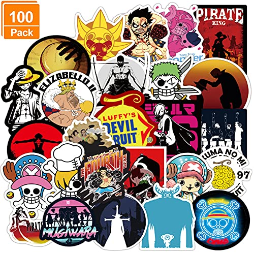 100 piezas Pegatina de Anime japonés para Coche, Hilloly Pegatinas de Graffiti de Hoja de Pegatinas de Pirata de Anime, Pegatinas para Coche, Guitarra, portátil, monopatín, Casco, Espada, Asesino