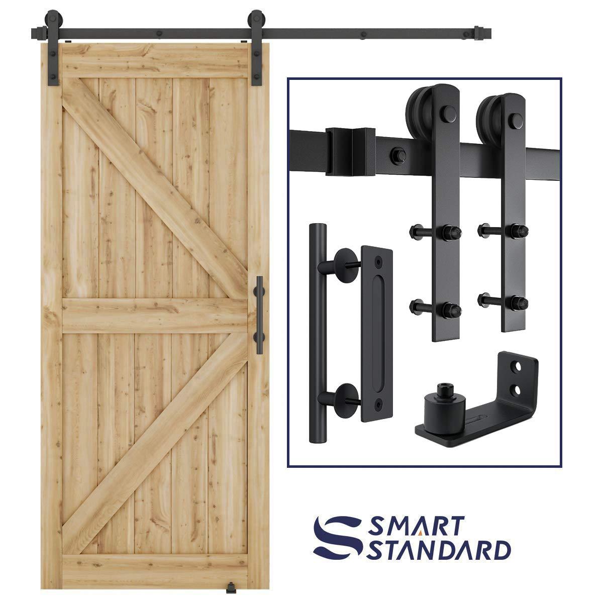Kit de herramientas para puerta corredera de granero resistente de 1,8 m, barra doble de
