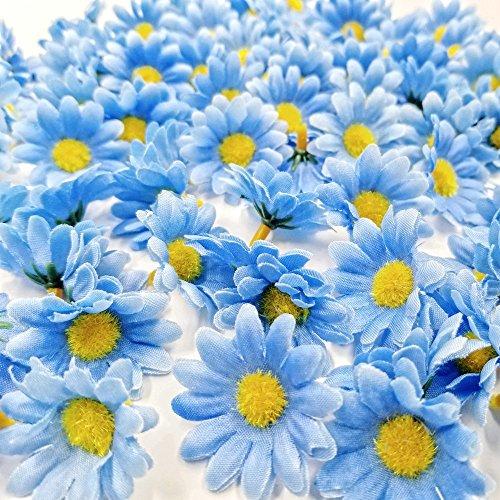 JZK® 100 x künstliche blau Handwerk Gerbera Daisy Gänseblümchen Stoff Blumen Köpfe, Hochzeit Party Tisch Scatters Konfetti, DIY Scrapbook Zubehör, Einladung Karte Dekoration