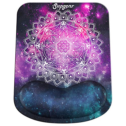 Supgear Mouse Pad with Gel Wrist Rest Support, Gaming Mouse Mat Non-Slip Rubber Base, Comfortable Pad Ergonomic Design, Wrist Rest Pad Suitable for Laptop PC 27.5×21×2.5cm (Mandala in Galaxy)