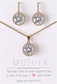 AMY O Mother of The Groom, Gift for Mom - Necklace and Earrings Jewelry Set in Silver, Gold or Rose Gold
