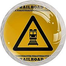 Voorzichtigheid Railroad Crossing | 4-Pack van ABS Hars Keukenkast Knoppen Trekt Ronde Afdrukken Dressoir Knoppen Lade Han...