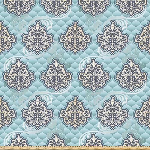 ABAKUHAUS Victoriaans Stof per strekkende meter, Rococo tijd perk ontwerpen, Microvezel Stof voor Kunstnijverheid, 5 m, Pale Blue Ivory