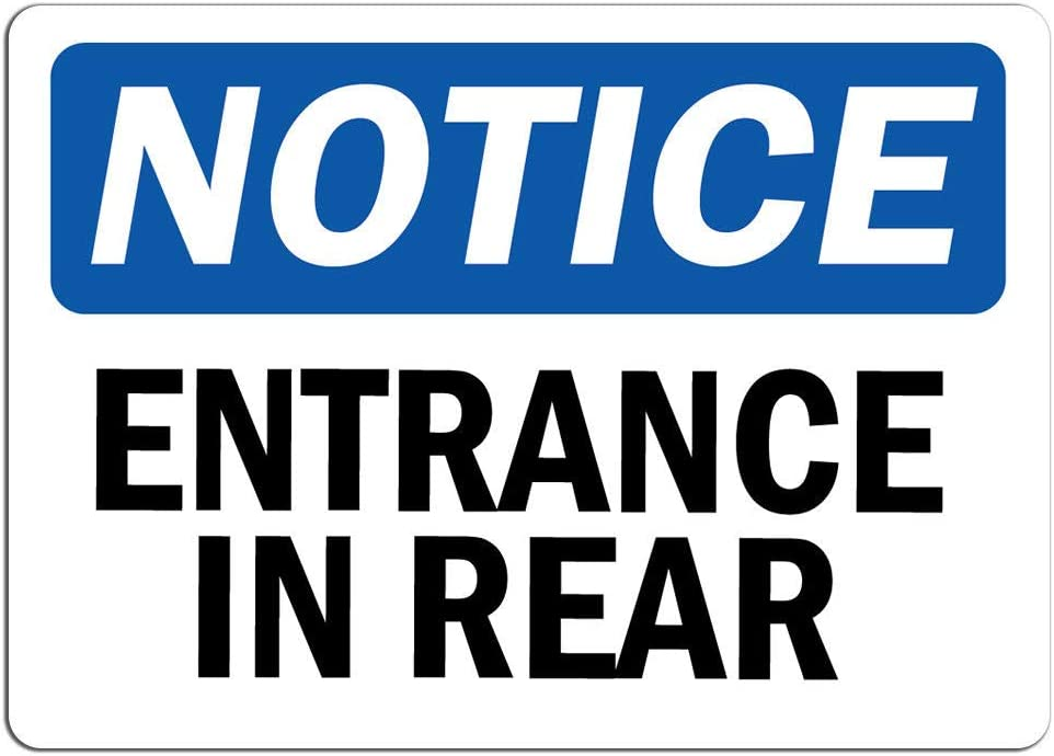 Notice - Entrance in Easy-to-use Rear Sign Label Sticker Stor Decal Retail Rapid rise