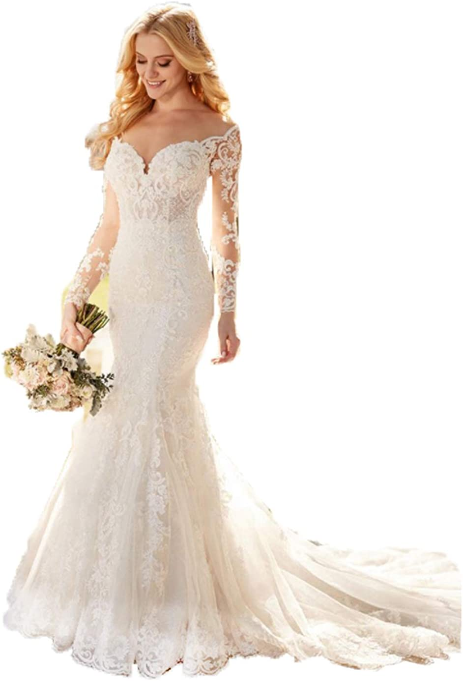 Mermaid Beach Sweetheart Neck A-Line Wedding Dress for Bride 2021 with Sleeves for Women