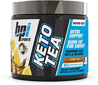 BPI Sports Keto Tea – Hydration, Energy, Focus – BHB Salts, MCTs, EGCG – Detox Support – Keto Diet Support – Diuretic – for Men & Women – No Artificial Colors – Iced Tea - 25 Servings – 6.17 oz.