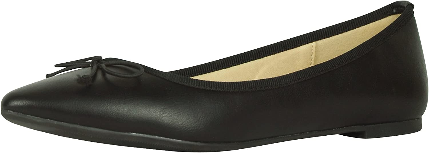 Cambridge Select Women's Classic Toe Bow Slip-On Closed Pointed Ballet Flat