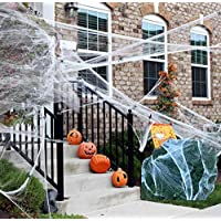 800 Square Feet Halloween Stretchy Spooky Spider Webs with Fake Spiders
