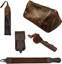 Hide & Drink, Barber Mega Pack (Set of 5), Leather Razor Strop, Case for Straight Razor, Double Edge Safety Razor & Brush, and Toiletry Bag, For Shaving, Handmade 101 Year Warranty :: Bourbon Brown