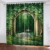 LWXBJX Opacas Cortinas Dormitorio - Bosque Verde Arco -...