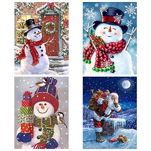 SINBLUE Lot de 4 kits de broderie à strasse 5D à faire soi-même avec motif Père Noël et bonhomme de neige