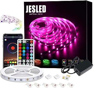 LEDテープライト ストリップライト LEDテープ 5メートル 新規IRリモコン/APP/ブルートゥース制御 音楽と同期 タイマー機能 1600万色 高輝度RGB SMD5050 間接照明 切断可能 装飾用 祝日用 非防水JESLED