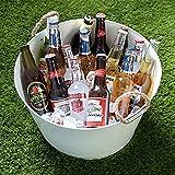 Cesta para fiesta con asas de cuerda, de acero galvanizado blanco, para enfriar bebidas, botellas de cerveza y vino