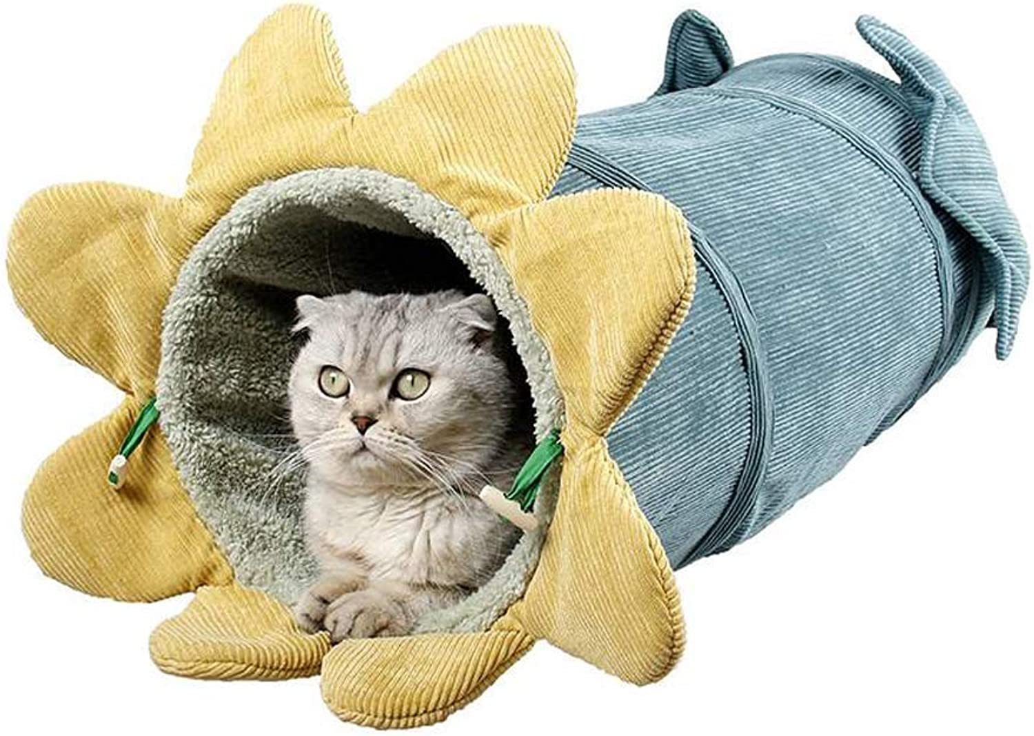 Cat Tunnel House Corduroy SelfWarming Cat Bed with Bell (Yellow)