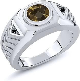 1.83 Ct Checkerboard Brown Smoky Quartz Black Diamond 925 Silver Men's Ring