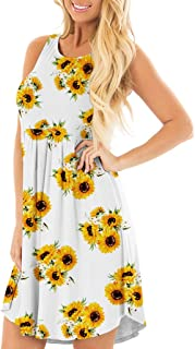 MRktkr Women Mini Dress 2020 Fashion O Neck Sunflower Print Sleeveless Tank Swing Dress