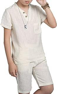 Boys White Green Navy Linen T Shirt Shorts Suits Summer Two Piece Set