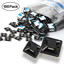 Self Adhesive Cable Tie Mounts - 3M Strongly Adhesive-Backed Zip Tie Base Holders for Home, Office Cable Wire Management(19.5mm x 19.5mm, Black, 100pack)
