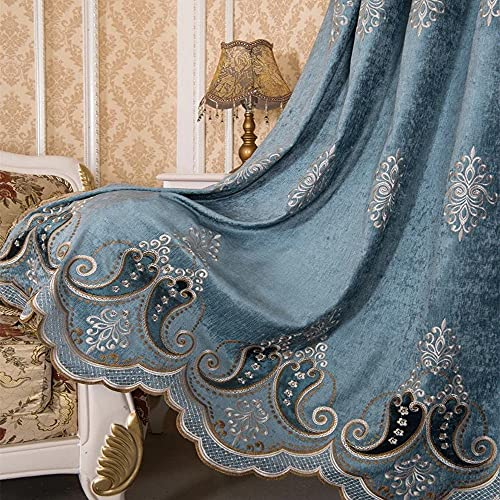 TIYANA European Blue Royal Luxury Curtains for Living Room Chenille Jacquard Delicate Embroidery Room Darkening Curtains Shade for Bedroom Window Curtain Panel Metal Grommet Top 1 Piece 39x84 inch