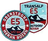 Club of Heroes 2er-Set E5 Abzeichen/Transalp E-5 Oberstdorf Meran Bozen/Wander-Abzeichen Alpencross Alpen-Überquerung Fern-Wanderweg/Aufnäher Aufbügler Sticker Patches/Reiseführer Wanderführer Karte