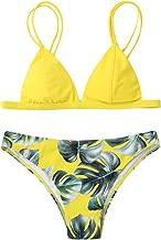 Rambling Women's Swimwear Bikini Set Print Leaves Push-up Padded Bathing Swimsuit Beachwear