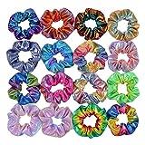 Coleteros grandes elásticos para el pelo, colores metálicos brillantes arcoíris, accesorios para mujeres, niñas, niños, 20 unidades