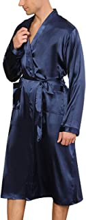 GuliriFe Men's Silk Satin Kimono Robe Long Dressing Gown Pockets Lightweight Loungewear Nightdress Long Sleeve Pyjamas