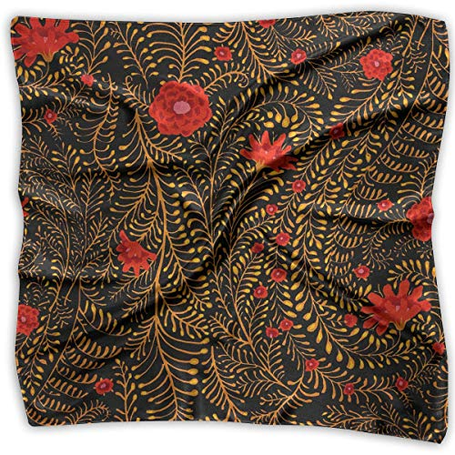 Women's Square Scarf Collective Ferns Black Satin Polyester Silk Feeling Square Headscarf Headdress