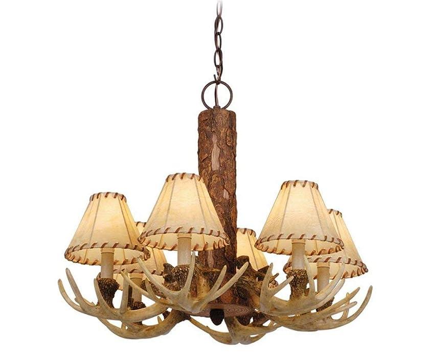 Antler Chandelier Deer Home Decor Rustic Lamp With 6 Chic Light Bulb In Noachian Stone Bronze - 72