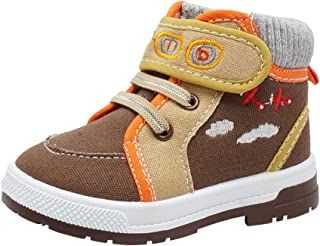 ShoBeautiful Boys Canvas Ankle Booties Knitted Collar Embroidered Hook and Loop Hiking Boots (Infant/Toddler/Littler Kid) Jet