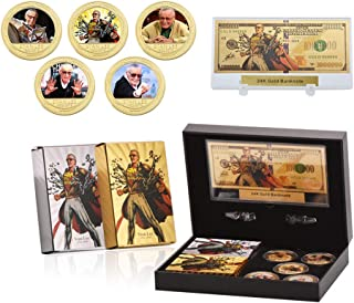 5 PC Stan Lee Commemorative Coin, 24k Gold & Silver Playing Card for Collection,A Great Coin and Poker Collecting Gifts for Husband, Father, Friends,Fans,Father's Day