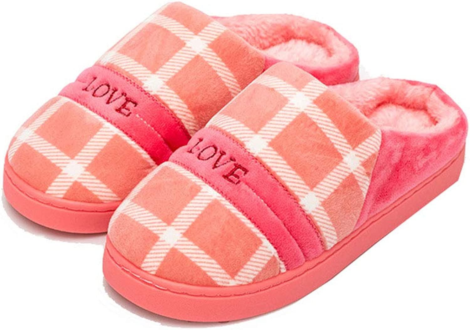 Fashion Home Plush Slippers Plaid Cotton Warm Slippers Indoor Non-Slip shoes Winter Warm Comfortable Unisex,Pink,EU3637=24Cm