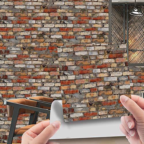 Hiser 20 Stück Küchenrückwand Fliesenaufkleber, 3D-Simulation Stein Ziegel Wasserdicht Ölfest Stickerfliesen Deko Selbstklebende für Küche Badezimmer Wohnzimmer Dekoration (Country Rock,20x20cm)
