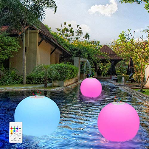 uuffoo Floating Pool Lights Waterproof Floating Bluetooth Speaker Color Changing Remote Led Ball Light Glow Pool Balls for Swimming Pool,Pond,Garden,Home Wedding Decor 9.84inch