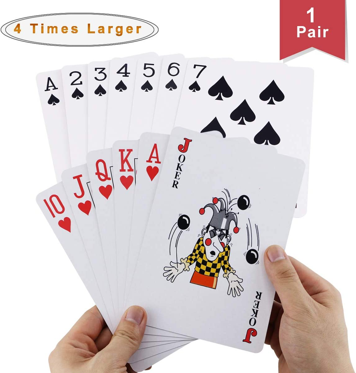 Faxco 6.6'' x 4.6'' Large Poker,Four Times Large Poker,Jumbo Deck of Big Playing Cards Fun Full Poker