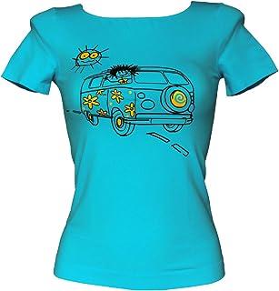 SENSI' T-Shirt Donna Manica Corta Stampa Van Microfibra Traspirante Senza Cuciture Seamless Made in Italy
