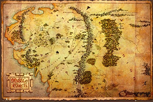 Grupo Erik FP2804 Poster The Hobbit Map, carta, Multicolore,  91 x 61,5 x 0,1 cm