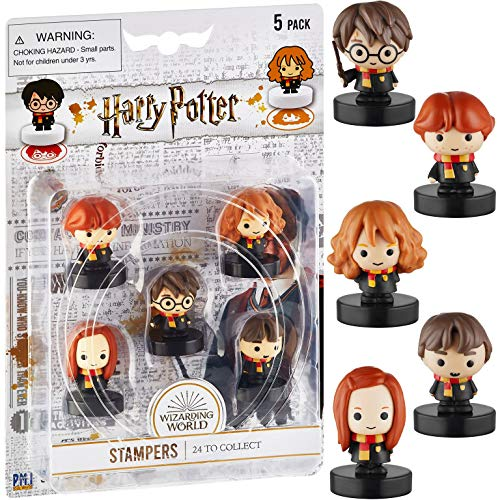 Self-Inking Harry Potter Stampers, Set of 5 – Harry Potter Gifts, Collectables, Party Decor, Cake Toppers – Harry Potter,Ron Weasley, Neville Longbottom and More by PMI, 2.5 in. Tall