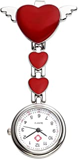 Top Plaza Womens Girls Heart Angle Wing Nurse Fob Clip On Brooch Hanging Pocket Watch