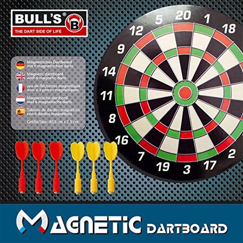 BULL'S Dartboard Magnetic, Schwarz/Gr&uumln/Rot/Beige, 40.5 x 1.5 cm