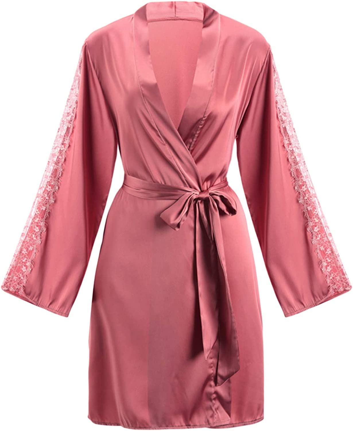 Pink Lace Kimono Dressing Gown, Sexy Pajamas Bathrobe with Belt, Long Sleeve VNeck Robes, One Size