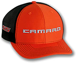 Gregs Automotive Chevrolet Chevy Camaro SS Trucker Hat Cap Orange - Bundle Includes 1 Hat and 1 Driving Style Decal